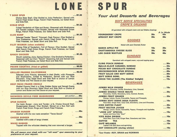 Figure 1: Spur menu from 1973